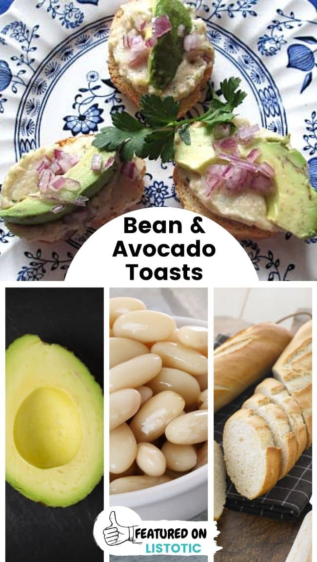 Three white bean-avocado toasts displayed next to each other on a platter.