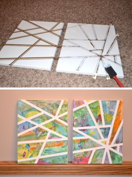 beauiful canvas art using paint and tape to create a geographical shapes and patterns on canvas The big reveal happens with the tape is pulled from the canvas