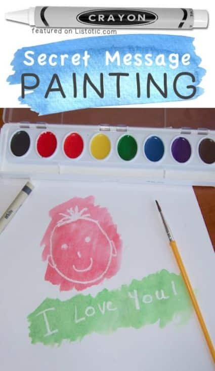 Secret message craft Using a white crayon you can make secret messages then use water color paint to uncover it!