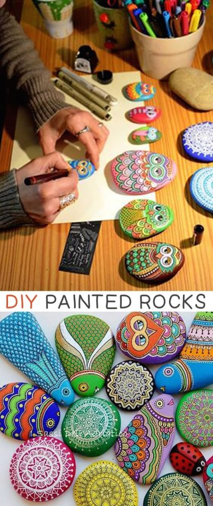 Adult Craft idea using rocks and paint for fun DIY painted Rock Art