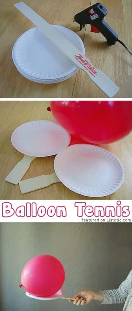 A Easy game idea of Balloon tennis is made by gluing paper plates to paint sticks and tossing a balloon from person to person.