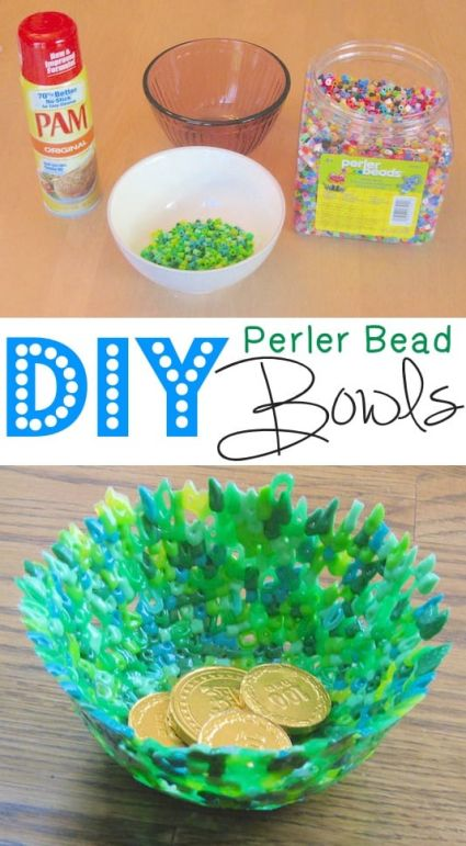 Make your own bowl form perler beads melted to create a colorful fun bowl that would be great to use for packaging a gift or snack