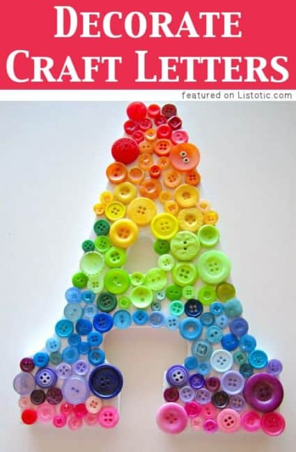 Using colorful buttons you can glue together to make a fun letter to be used in a child's bedroom or home decor project
