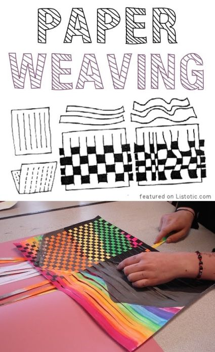 Craft using paper and weaving it between colors to create a beautiful design