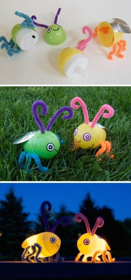 Fun outdoor craft idea using Easter eggs flame less lights and pipe cleaners. DIY a firefly for outdoor summer fun