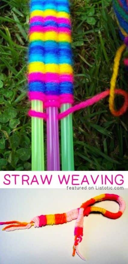 Easy cheap craft for kids or adults weaving yarn around straws to make a friendship bracelet