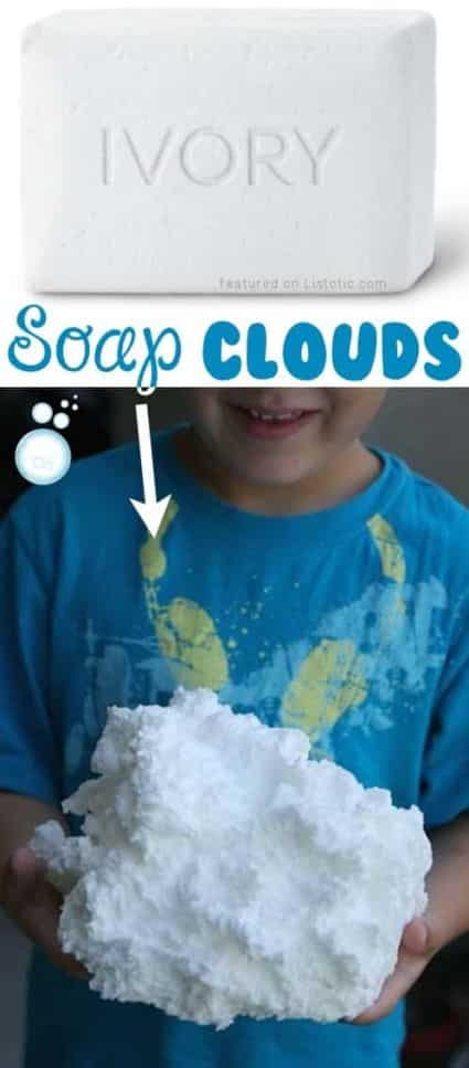 Using a bar of soap kids can experiment with creating a DIY Cloud that looks like a real cloud from the sky