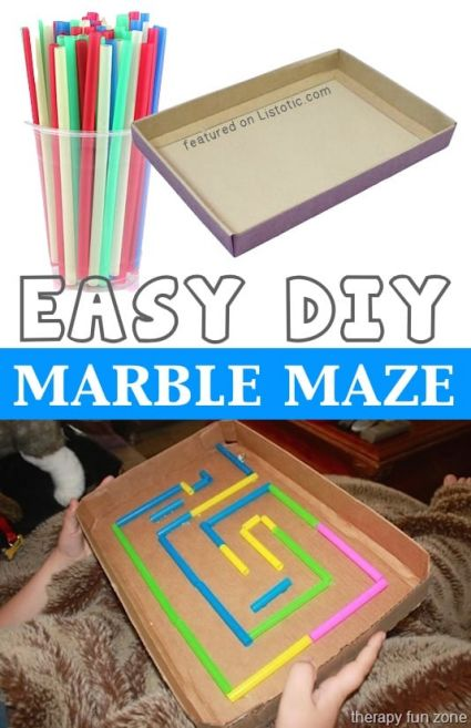 Using a box top and straws you can create a hand held DIY marble maze with recycled materials