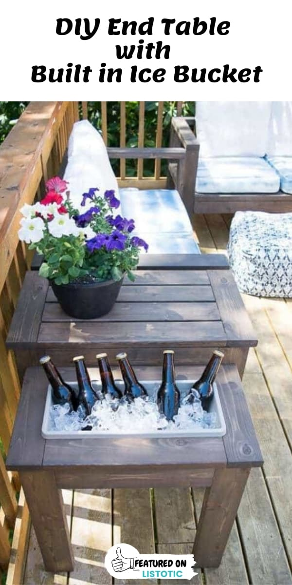 DIY End Table with built in ice bucket or planter box.