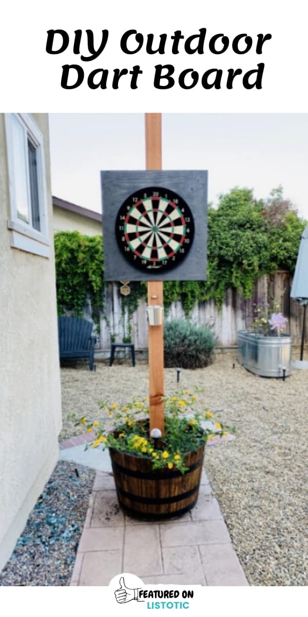 DIY Backyard living Dart Board in a wooden planter box.