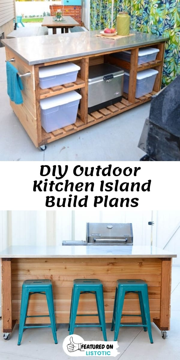 DIY Moveable Outdoor Kitchen Island Bar Cart