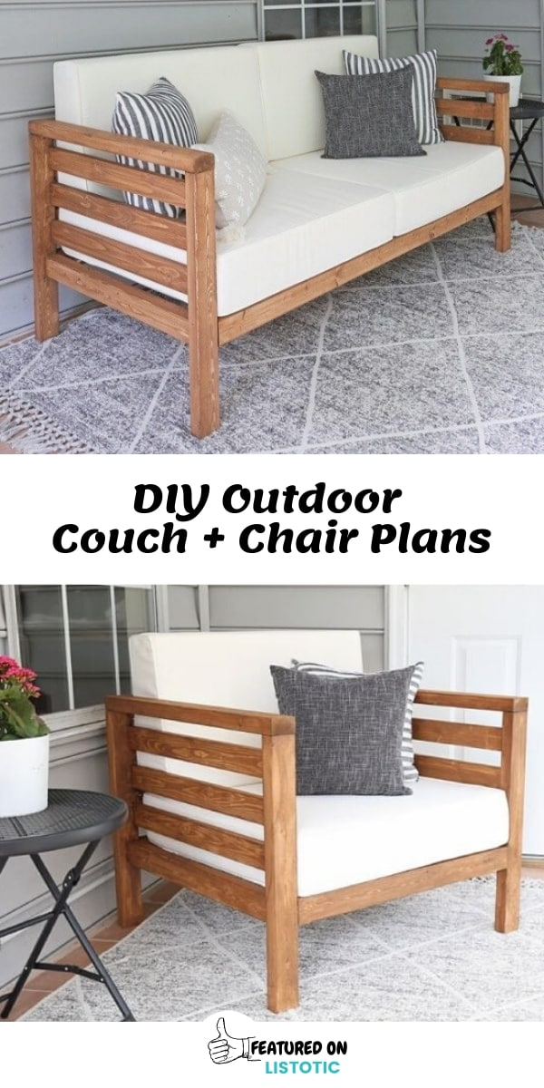 Make backyard living easy with DIY Outdoor Wood Couch and Chair Free Instructions Plan