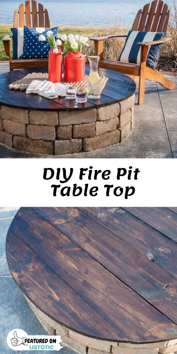 DIY Wood Table Top for an Outdoor Fire Pit.