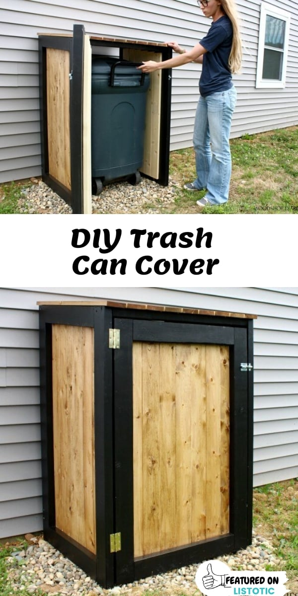 DIY Wood Trash Can Cover with front access door