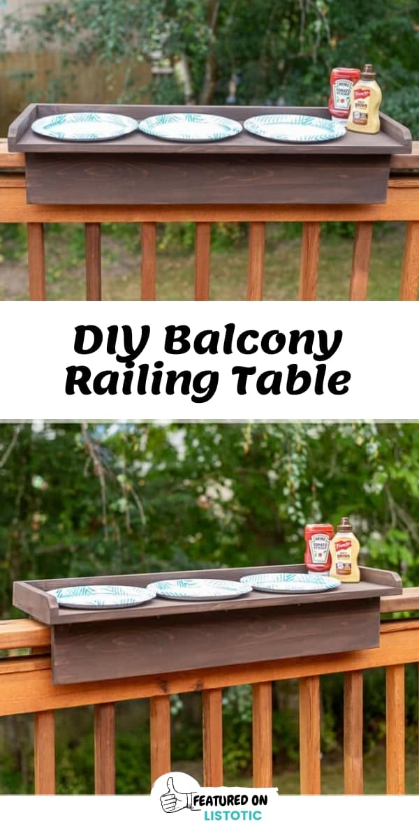 DIY Wood Balcony Railing Table for backyard living