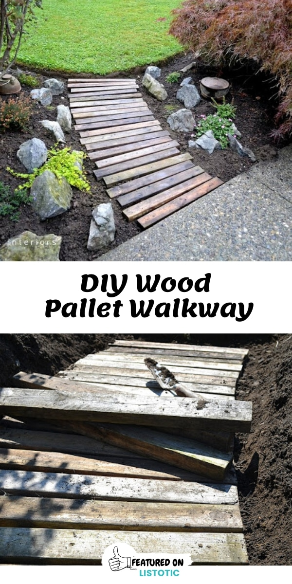 DIY Salvaged Wood Pallet Walk Way Path