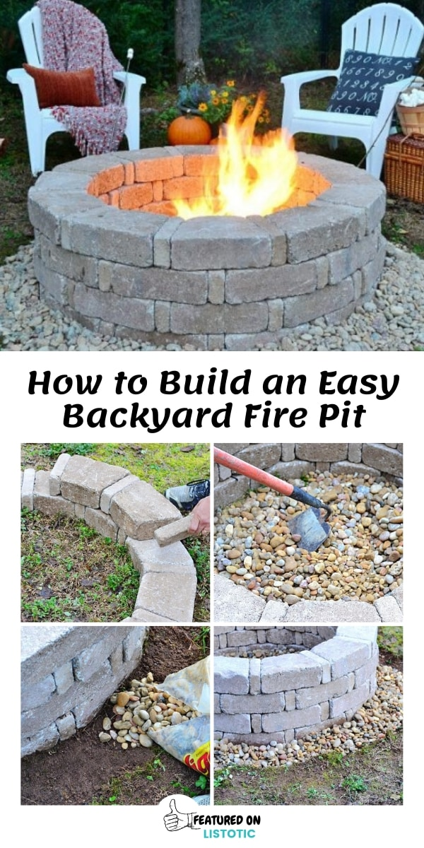 How to Build an Easy backyard Fire Pit with stone and rocks.