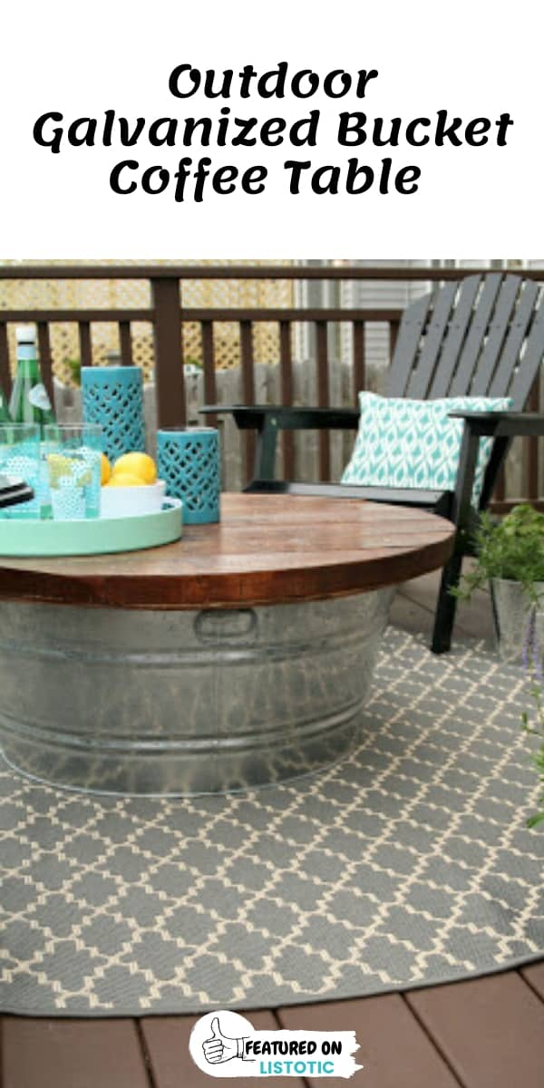 DIY Galvanized Bucket Outdoor Coffee Table
