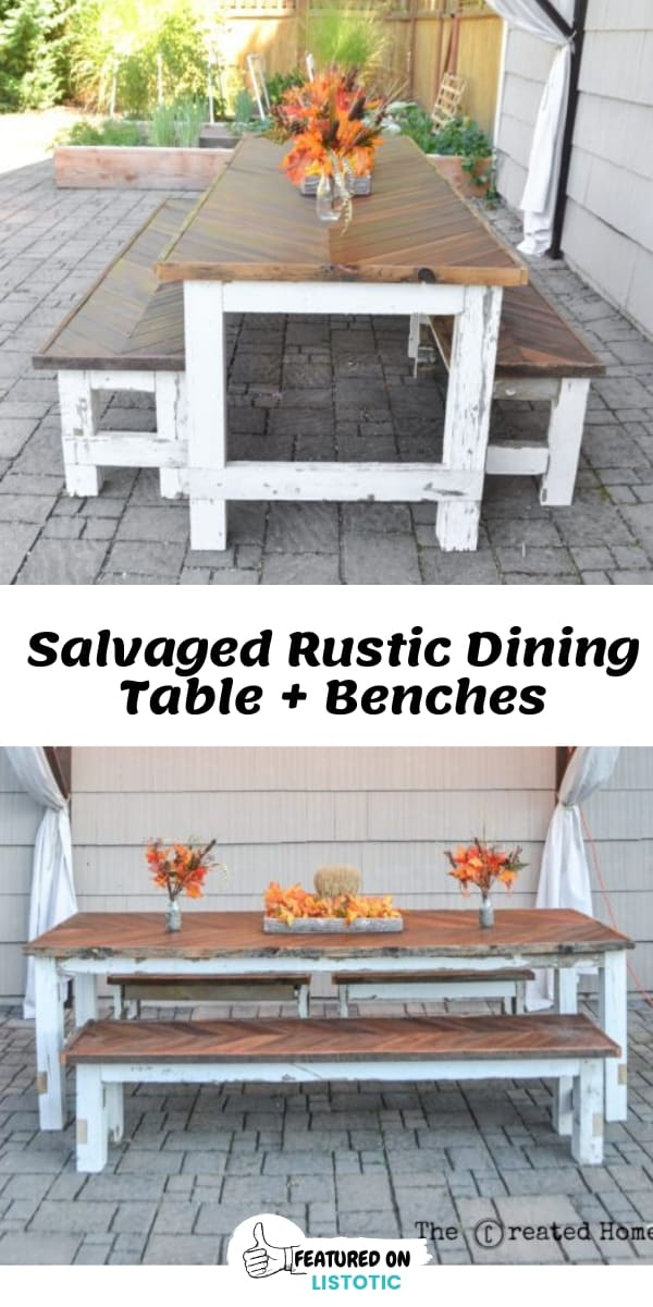 DIY Salvaged Wood Rustic Outdoor Dining Table and Benches