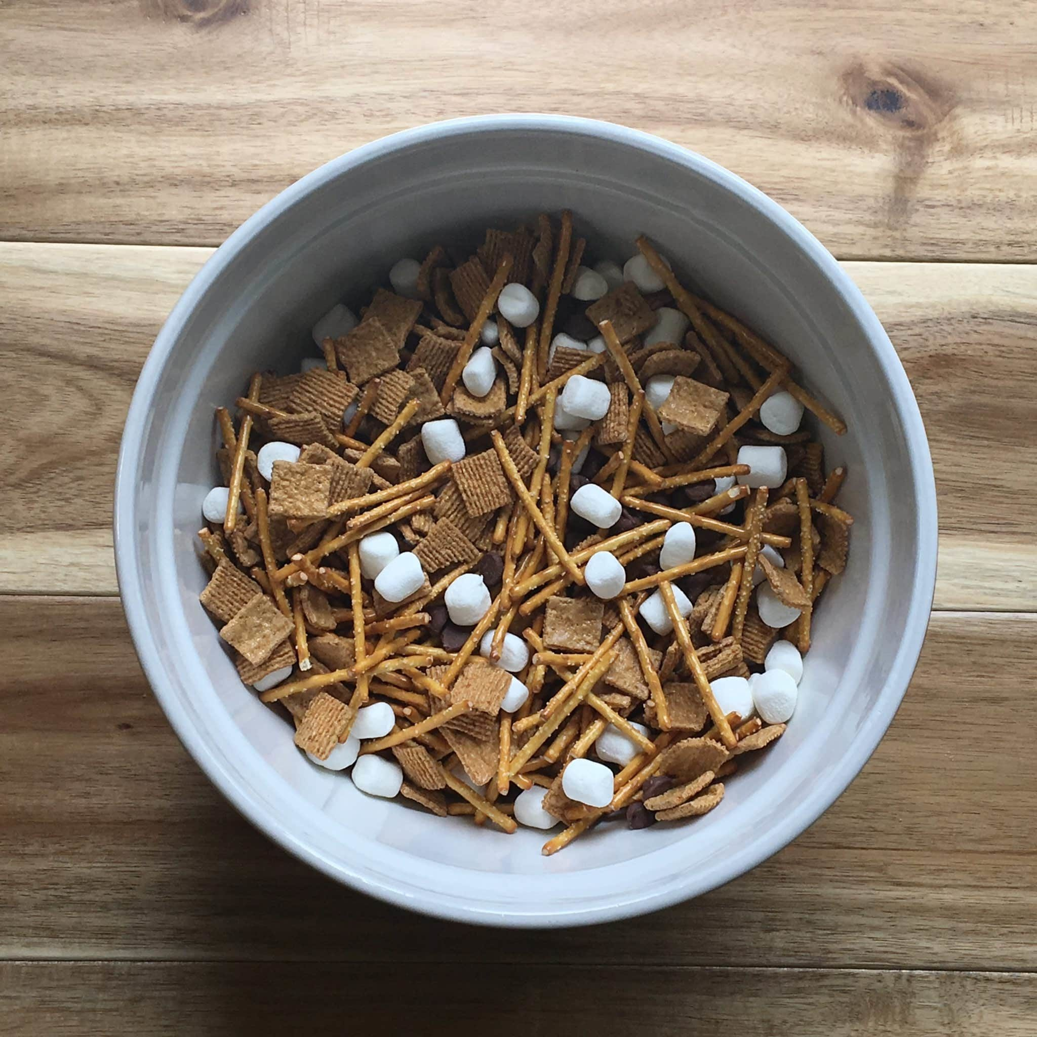 Bowl of S'mores trail mix.