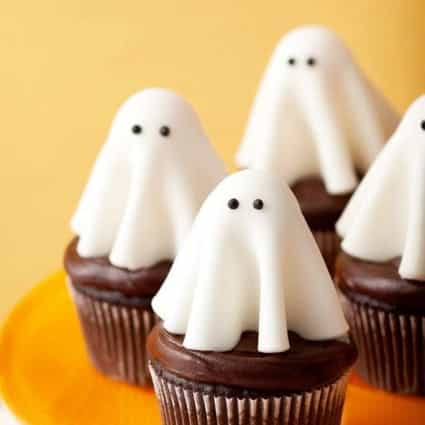 Fun Ghost Cupcakes decorated for a Halloween Party Dessert