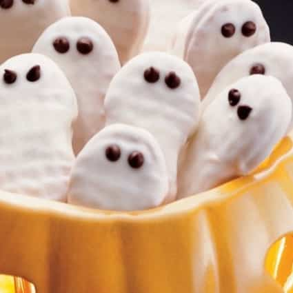 Nutter Butter Ghost Cookies with store bought peanut butter cookies made into cute ghost faces for a Halloween Party Treat