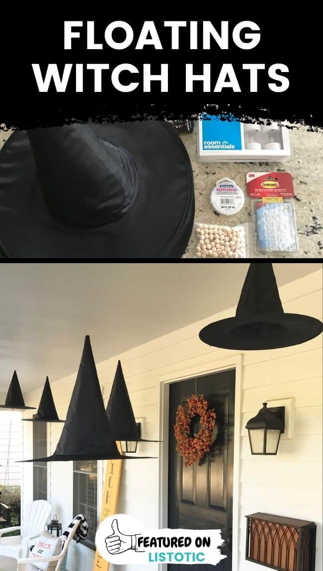 Halloween house decor using floating witches hats.