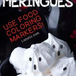 Decorated Meringue Cookies with Ghost Faces to make Ghost Cupcake Toppers