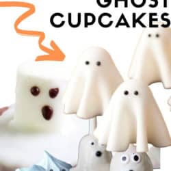 Clever designs for decorating cupcakes and cookies with Ghosts for Halloween