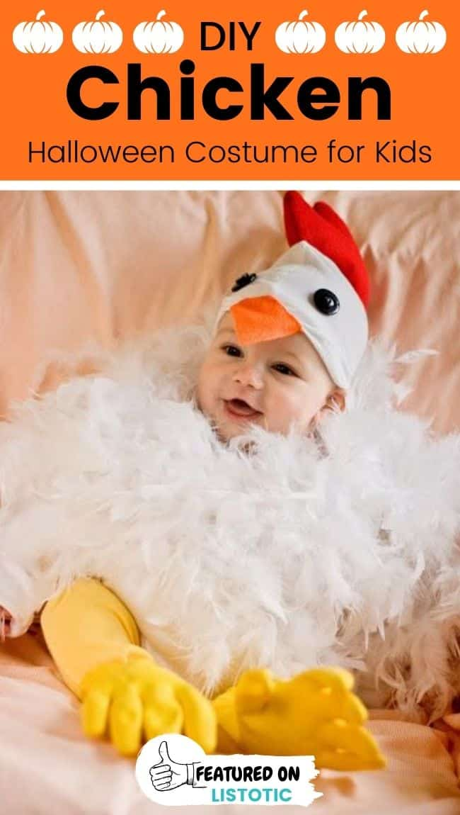 A baby wearing a chicken DIY animal Halloween costumes for toddlers.