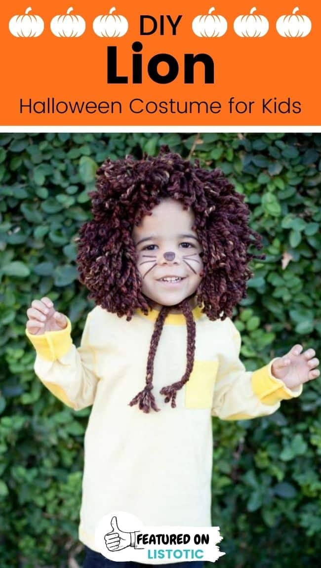 A kid wearing a lion DIY animal costumes for kids.