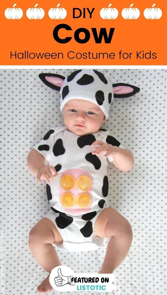 A baby wearing a cow DIY animal Halloween costumes for kids.