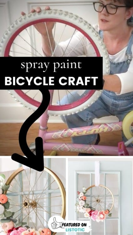 fun spray paint bicycle craft idea for making a front door wreath. Woman taking the rim off of a old child's bicycle to create a front door wreath spray painted gold.