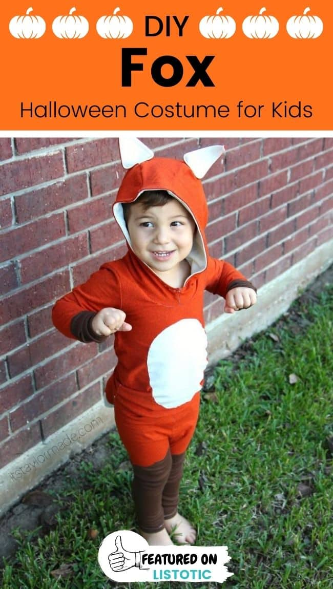 A kid wearing a DIY fox animal costumes for kids.