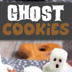Cookies with a marshmello ghost on top for festive Halloween treats