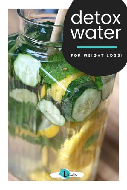 Water pitcher with healthy detox drink ingredients to aide in weight loss