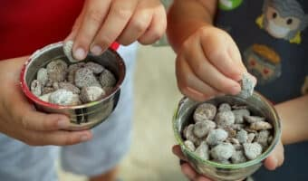 Kids eating crispix puppy chow