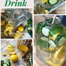 step by step of mixing a detox water will cucumbers pineapple mint lemon and ginger into a water pitcher to infuse
