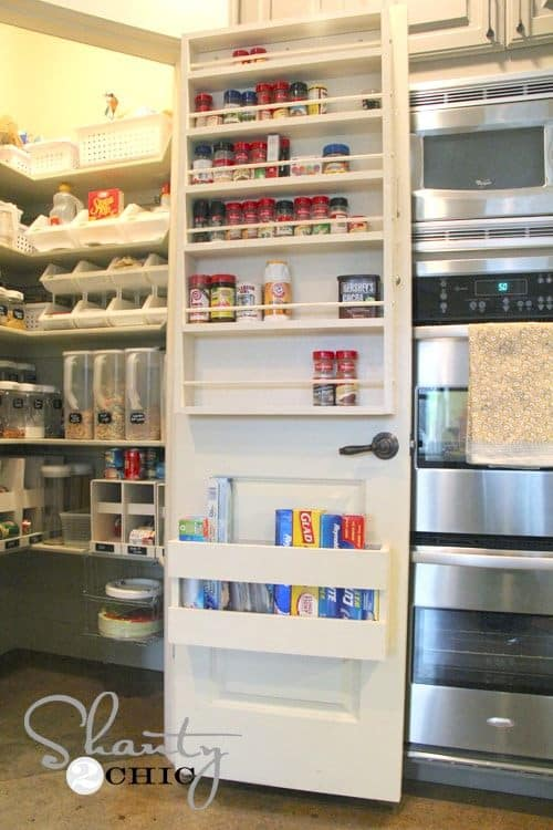 kitchen organization on back of pantry door