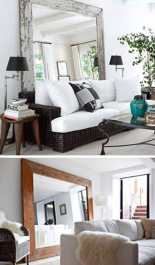 Small space hack large mirrors to create the illusion of a larger room these two images show a large mirror behind the sofa.
