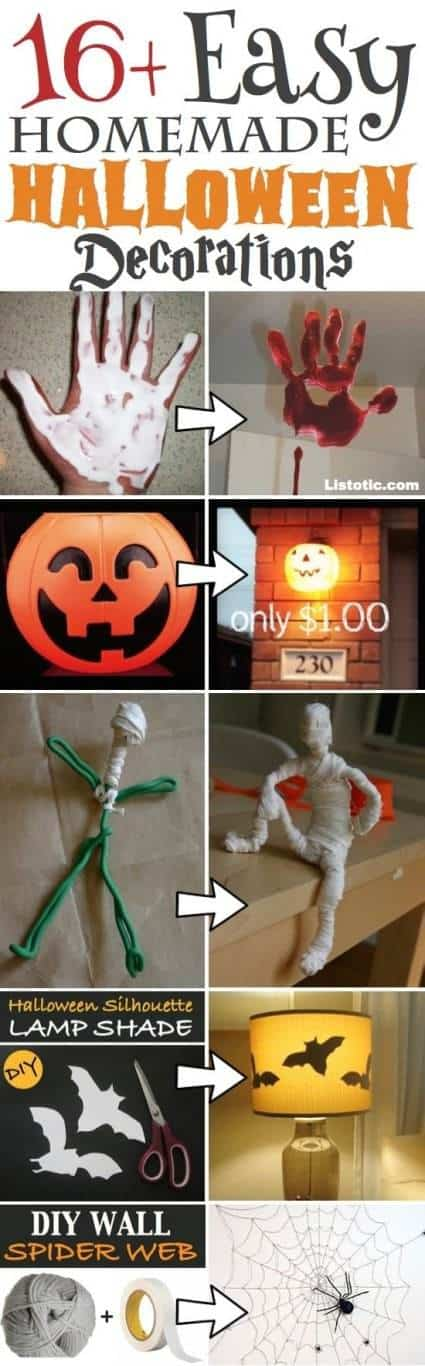 big list of ideas for homemade Halloween Decorations everything from spider webs, bats and Halloween doll house too