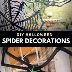 handmade spider decorations placed on the windows and front door for Halloween Celebrations