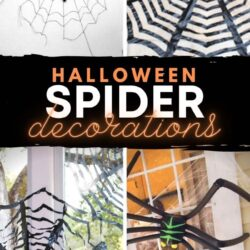 windows and doors decorated with homemade spider decorations crafted out of craft materials