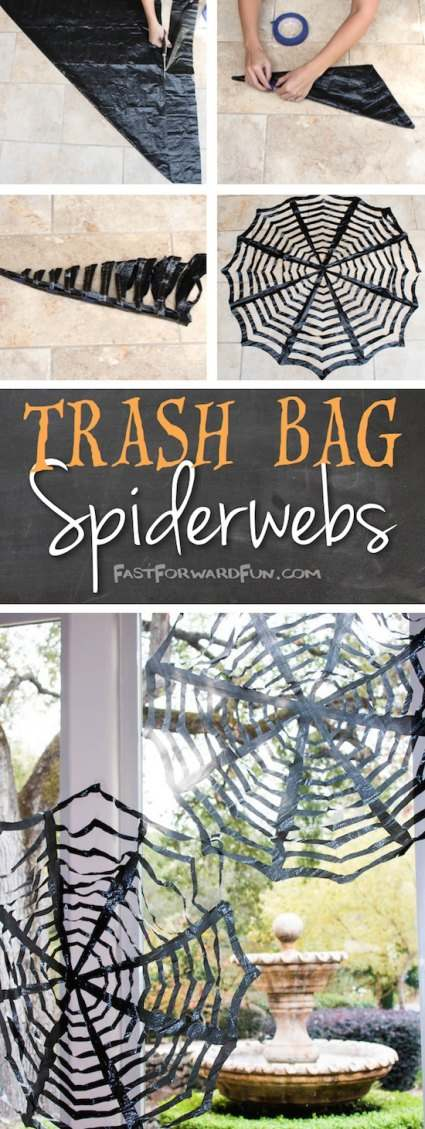 DIY Halloween Spider Webs made out of black trash bags hanging on a front porch for Homemade Halloween Decorations