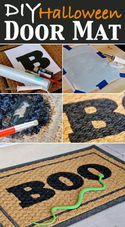 Homemade Halloween Doormat that says BOO in black marker