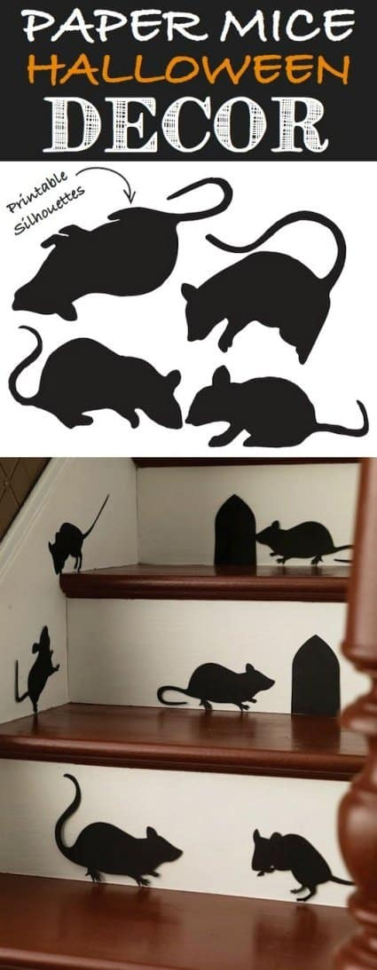 Free Printable Halloween cut outs of Mice on steps for DIY Halloween Decor in a Halloween House