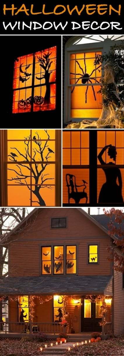Homemade Halloween Window Decorations for a Halloween house. Creepy silhouettes of spooky Halloween creatures taped in the windows of a home