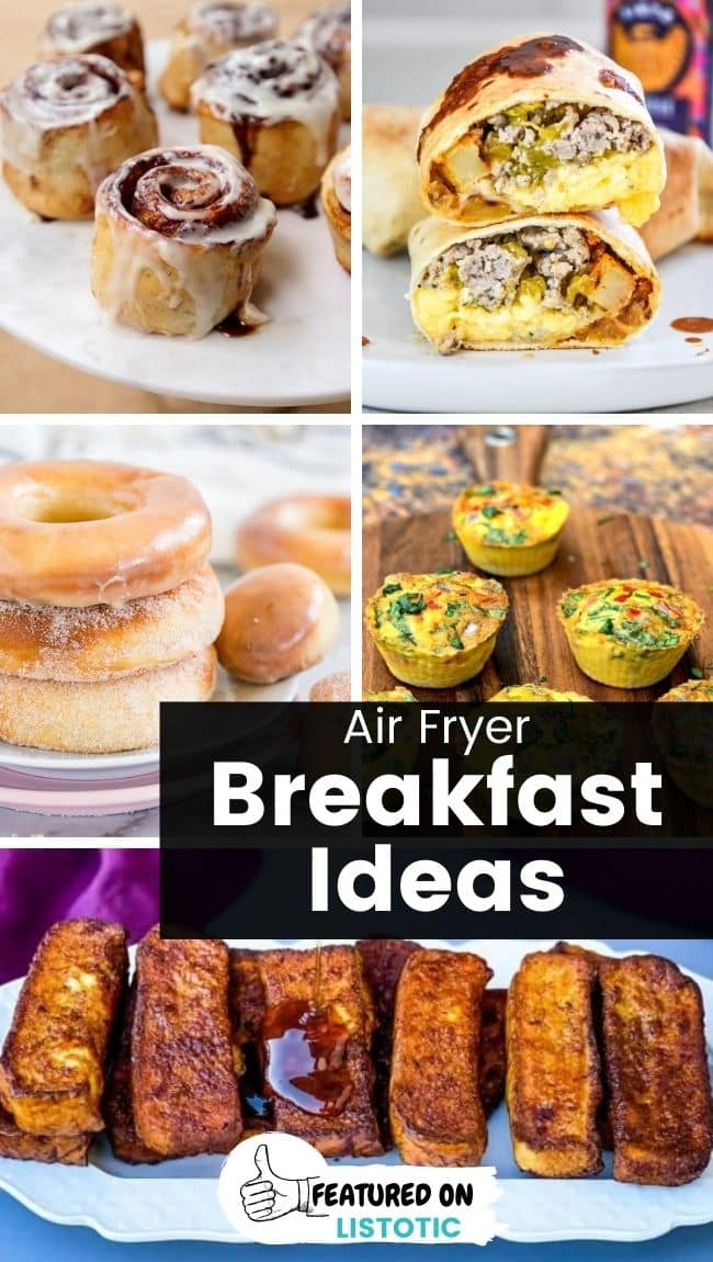 collage of breakfast foods made in the air fryer