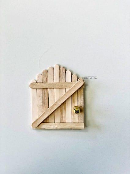 finished DIY popsicle stick elf door
