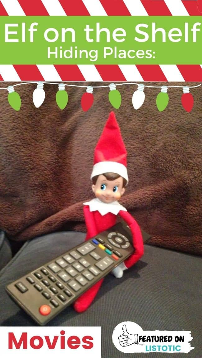 Elf on the shelf holding a TV remote.